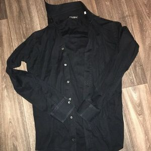 DOLCE & GABBANA Black Dress Shirt Cotton - Size M